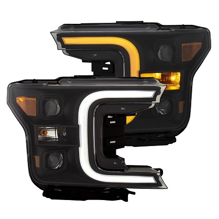 Anzo F-150 Plank Style Switchback Projector Headlights Black W/ Amber (2018-2020)