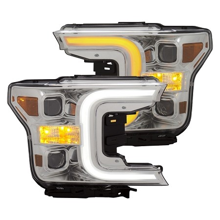 Anzo F-150 Plank Style Switchback Projector Headlights Chrome W/ Amber (2018-2020)