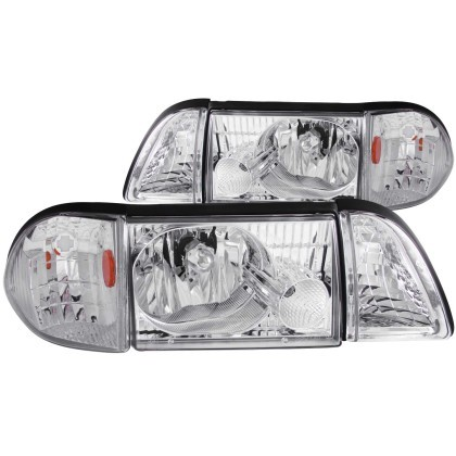 Anzo Fox Body Crystal Headlights Chrome W/ Corner Lights 2 PC (1987-1993)