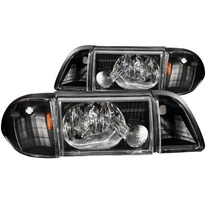 Anzo Fox Body Crystal Headlights Black W/ Corner Lights 2 PC (1987-1993)
