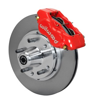 Wilwood Forged Dynalite Pro Series Front Brake Kit-Red Powder Coat Caliper-Plain Face Rotor (1987-1993)