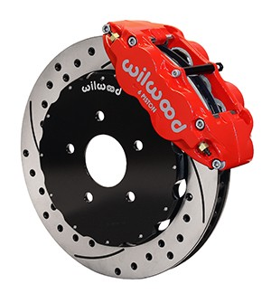 Wilwood Mustang Forged Narrow Superlite 6R Big Brake Front Brake Kit - Red Caliper-Drilled Rotor (1994-2004)