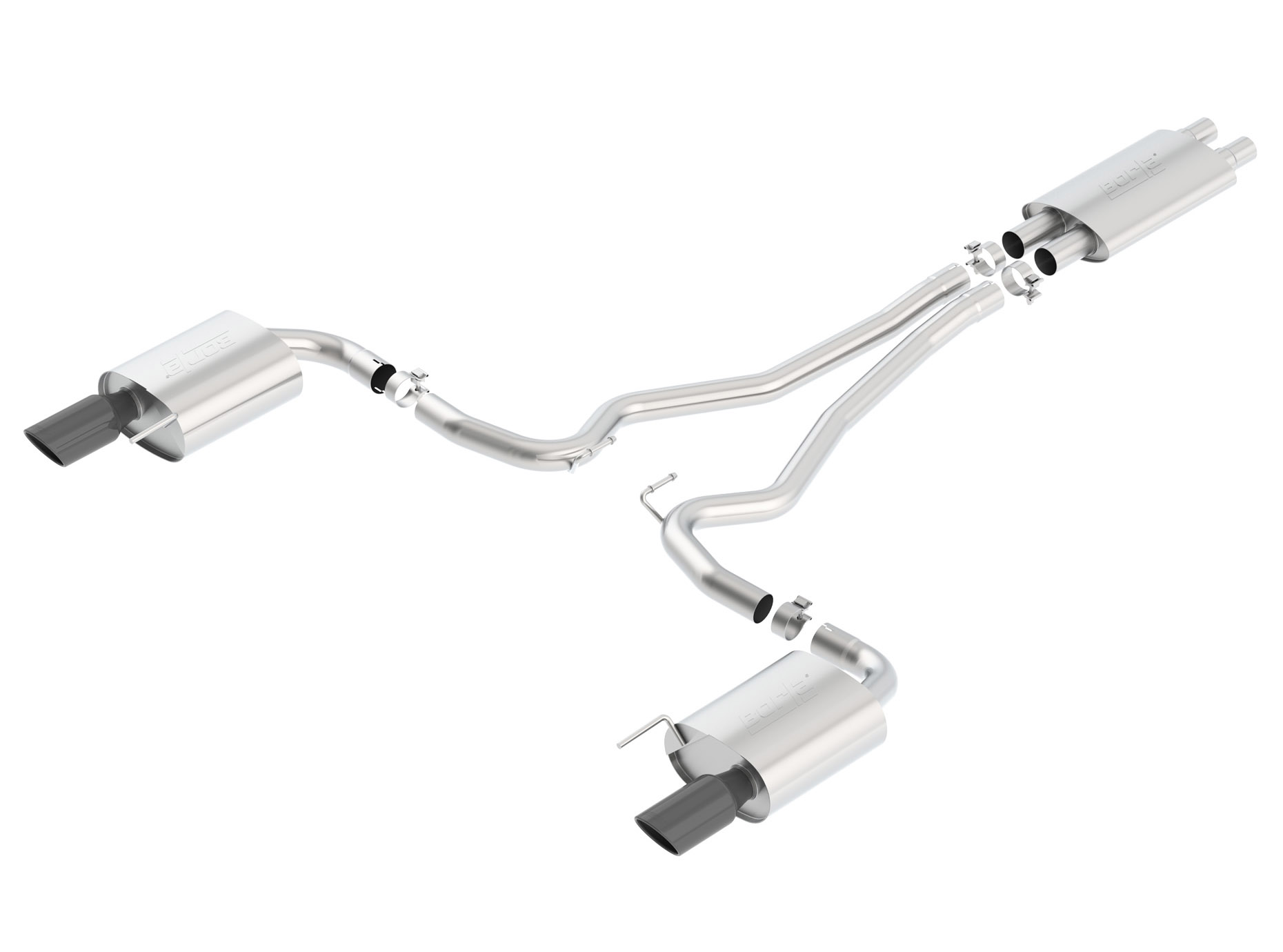 T-304 Stainless Catback Exhaust Mid X-Pipe for 2011-2014 Mustang S197 II 3.7 V6