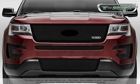 T-Rex Ford Explorer Upper Class Main Grille Insert - Black Powder Coated Formed Mesh - Replacement w/ Logo Recess (2016-2017)