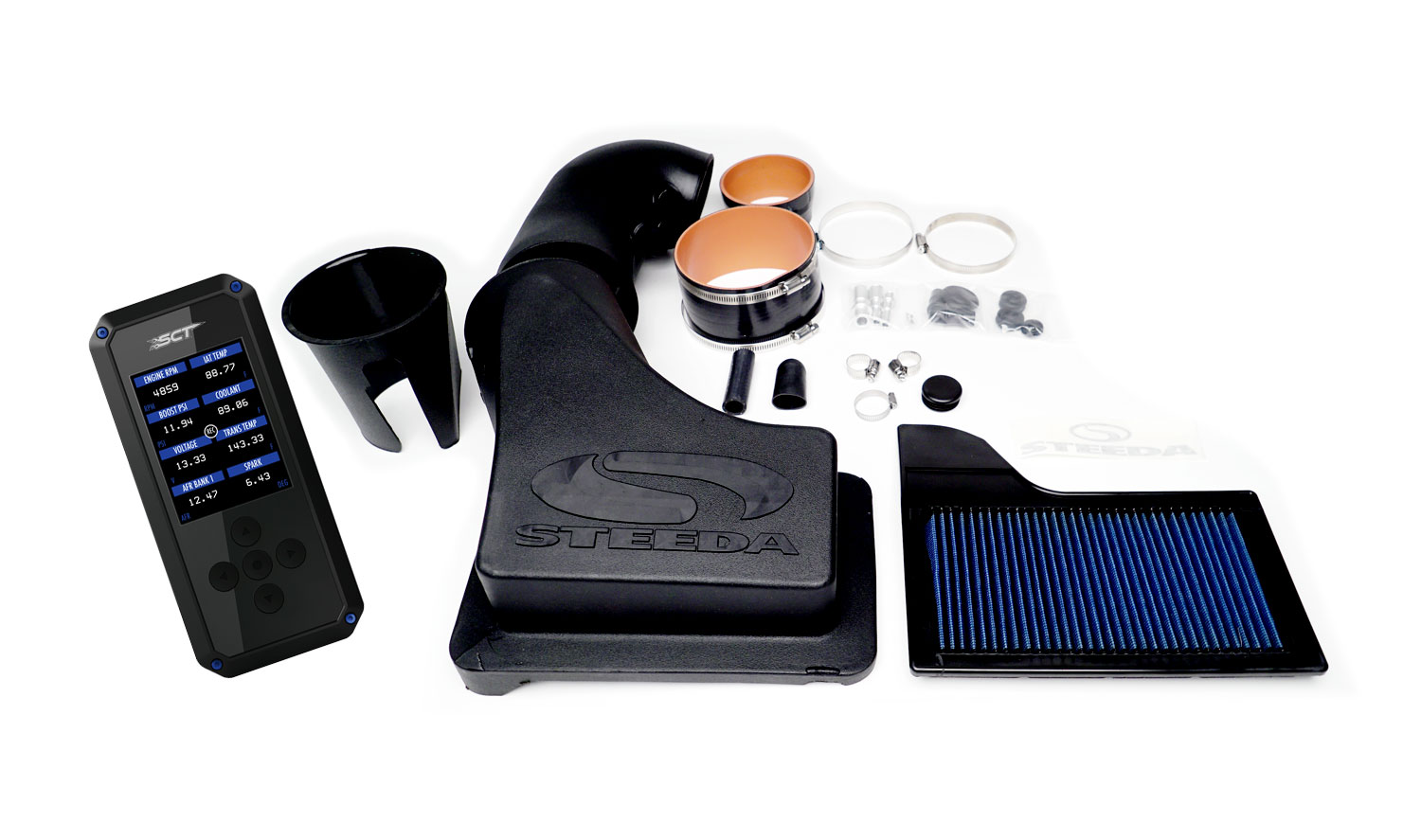 Steeda HARDCORE Mustang GT ProFlow Closed Cold Air Intake Power Pack - BDX (2018-2020)