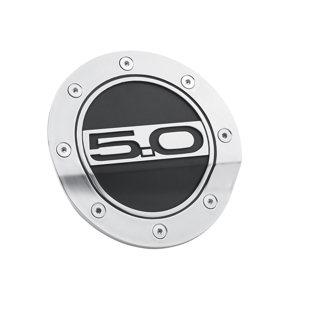 Scott Drake Mustang Fuel Door Comp Series Silver w/ Matte Black Accents And 5.0 Logo (2015-2020)