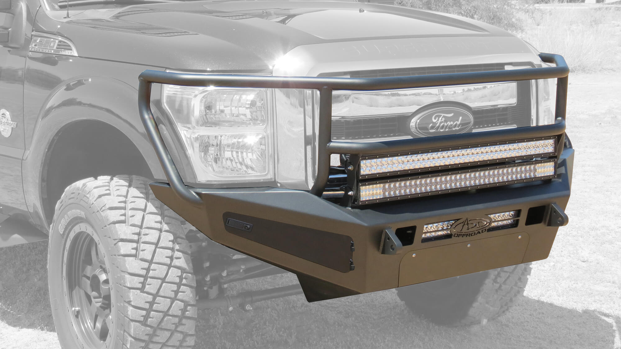 Addictive Desert Designs F-250/F-350 HoneyBadger Rancher Front Bumper With Storage Boxes (2011-2016)