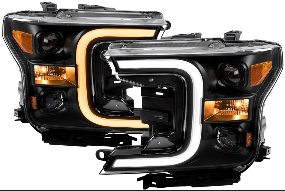 Anzo F-150 LED Projector Headlights w/ Plank Style Switchback Black w/ Amber (2018-2019)