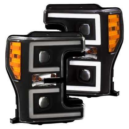 Anzo F-250 Plank Style LED Headlights Black (Pair) (2017-2018)