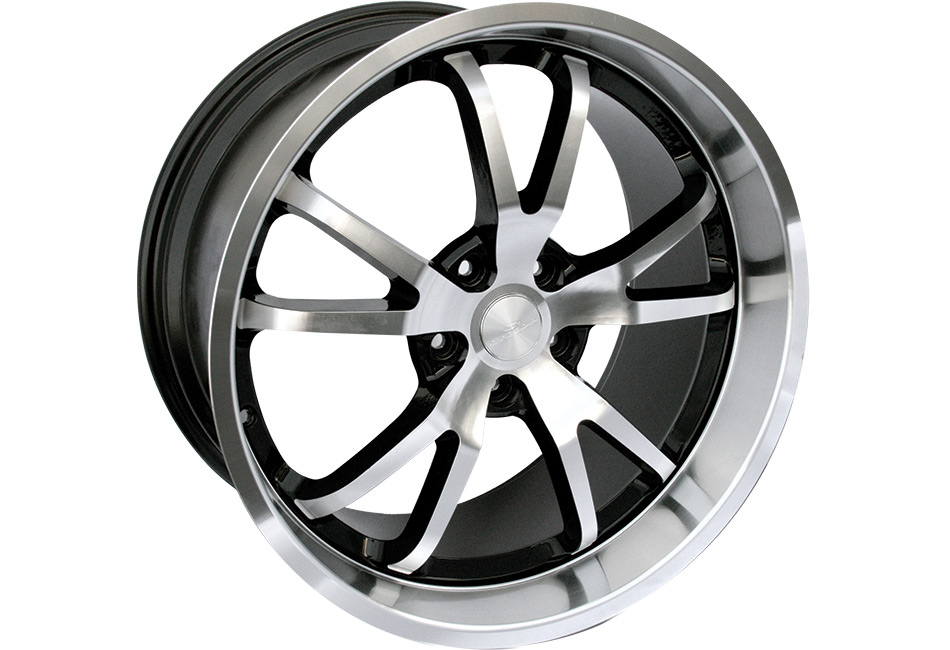 Steeda Mustang Spyder Wheel - Black w/ Machined Face/Lip - 20x11 (05-14) DISCONTINUED