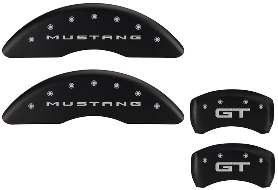 MGP Mustang GT Caliper Covers - Matte Black w/ GT logo - Front and Rear (2015-2020)