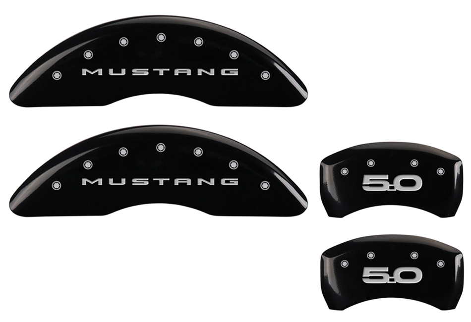 MGP Mustang GT Caliper Covers - Glossy Black w/ 5.0 logo - Front and Rear (2015-2020)