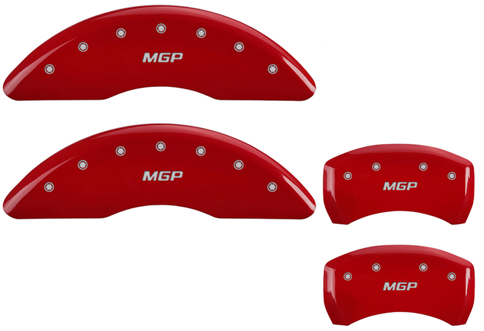 MGP Mustang GT Caliper Covers - Red w/ MGP logo - Front and Rear (2015-2020)