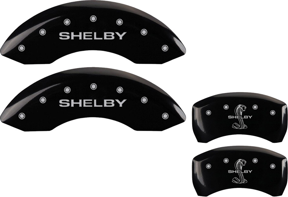 MGP Mustang GT/V6 Caliper Covers - Glossy Black w/ Shelby Snake Logo - Front & Rear (2011-2014)