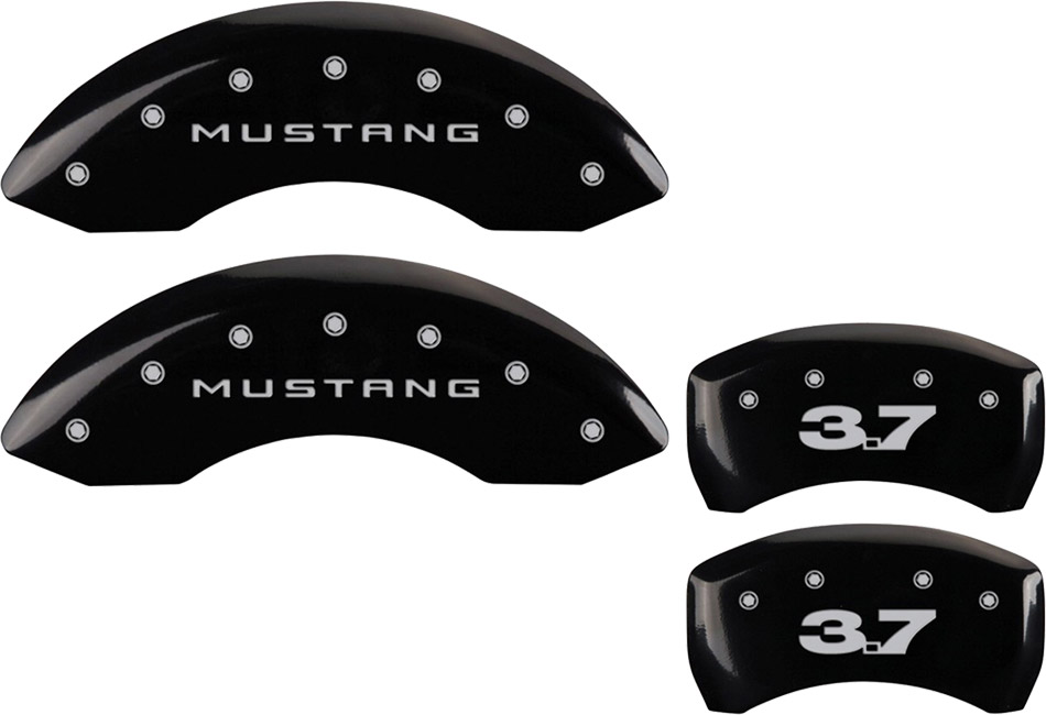 MGP Mustang Caliper Covers - Glossy Black w/ 3.7 Logo - Front & Rear (11-14 V6)