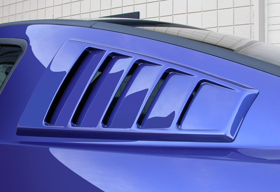 Classic Design Concepts Mustang Quarter Window Louvers - Unpainted (2005-2014)