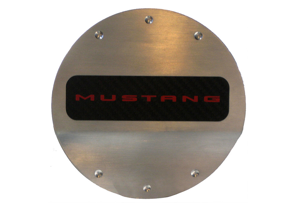 DefenderWorx Mustang Red Logo Fuel Door (2015-2020)