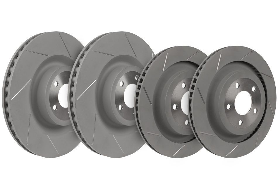 Steeda Mustang GT PP Slotted Front and Rear Brake Rotors (15-17 GT)