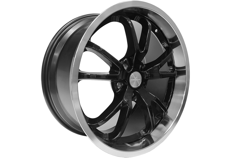 Steeda Mustang Spyder Wheel - Black w/ Machined Lip - 20x11 (15-17)