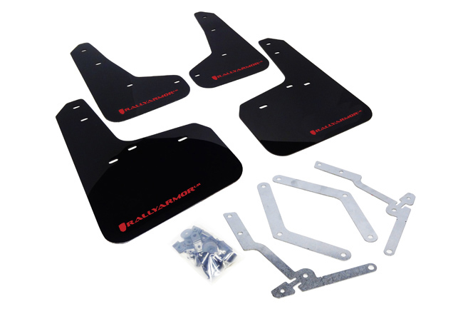 Rally Armor Focus ST/RS Mud Flap Set Black w/ Red Logo Set (2012-2018)