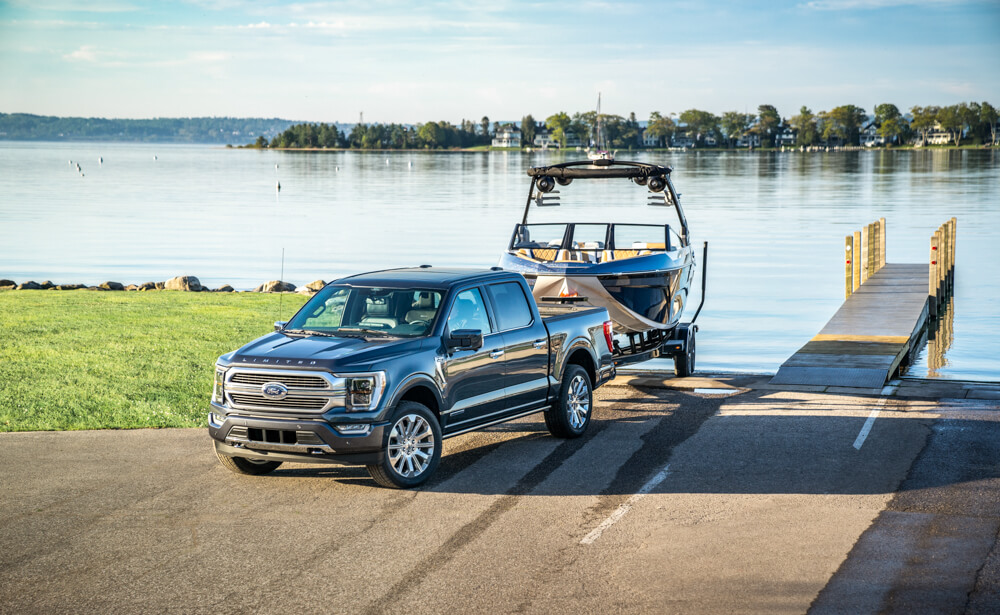 2021 Mustang F-150 Towing Boat