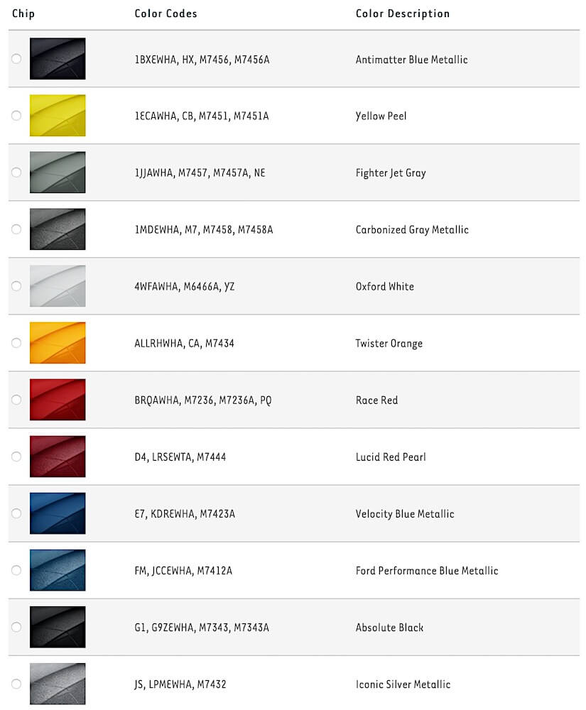2021 Mustang Color Chart