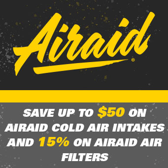 Airaid - up to $50 off cold air intakes and 15% off Drop in Filters