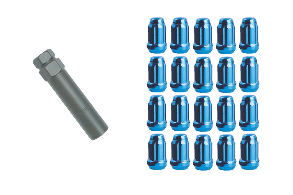 Gorilla Mustang Small Diameter Lug Nut Kit - Blue (1979-2014)