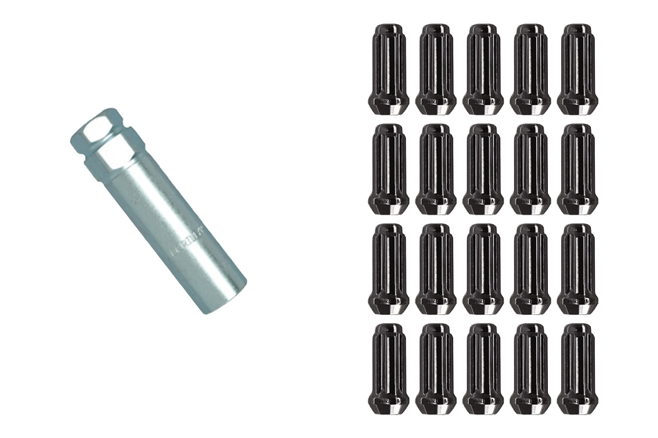 Gorilla Mustang Duplex Small Diameter Lug Nut Kit - Black (2015-2021)