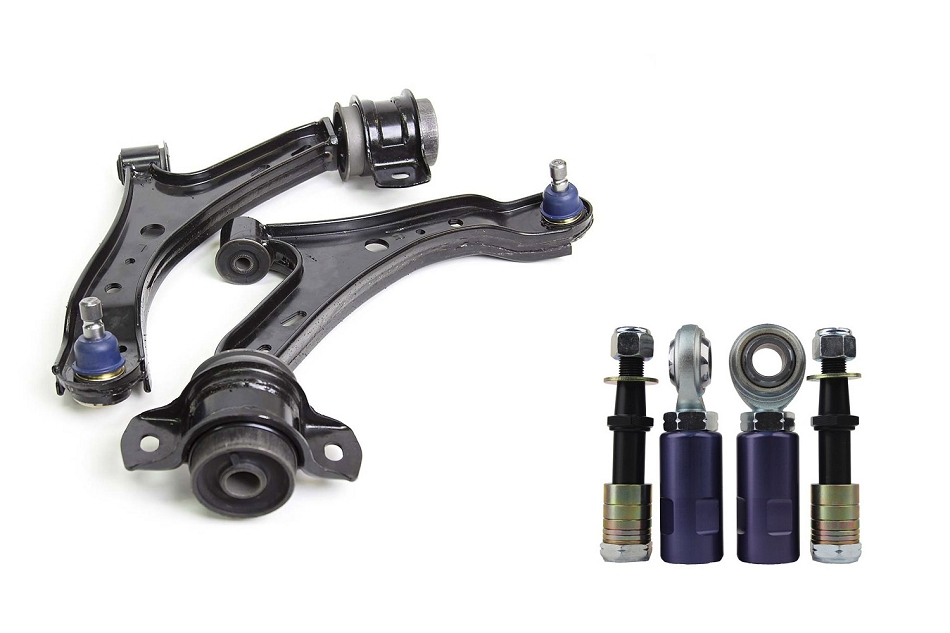 Steeda S197 Mustang Front Lower Control Arms with X5 Extended Ball Joints & Bumpsteer Kit Combo (2005-2010)