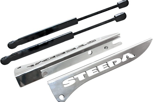 Steeda Mustang Engraved Billet Hood Strut Kit (2005-2014)