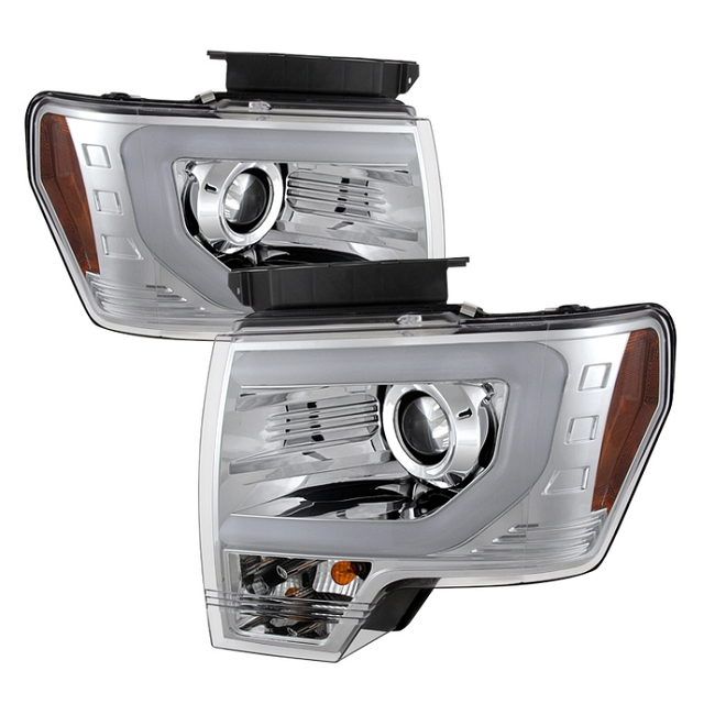 Spyder F-150/Raptor Projector Headlights w/ DRL Light Bar Chrome (2009-2014)