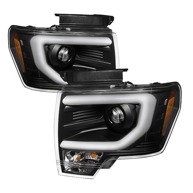 Spyder F-150/Raptor Projector Headlights w/ DRL Light Bar Black (2009-2014)