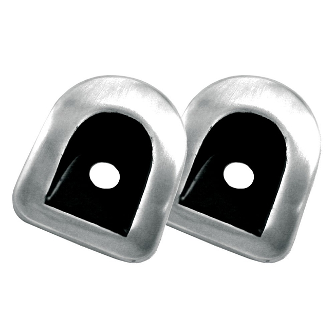 Scott Drake Mustang Door Lock Grommet Brushed Aluminum/Black Pair (05-14)