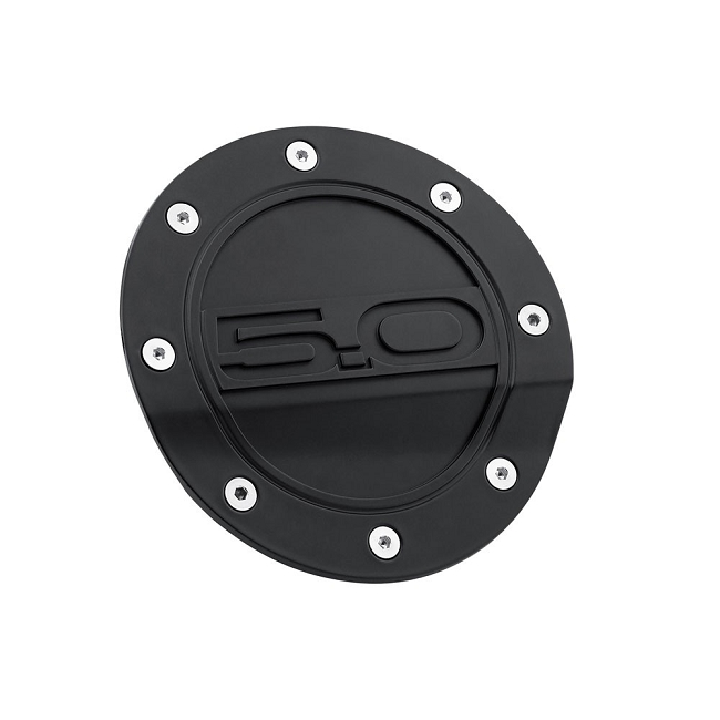 Scott Drake Mustang Fuel Door Comp Series Matte Black With 5.0 Logo (2015-2020)