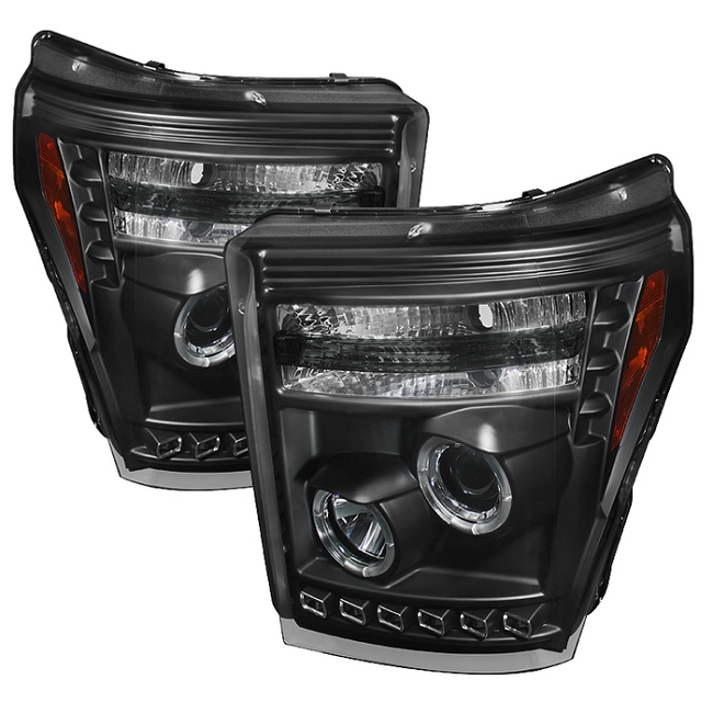 Spyder F-250/F-350 Black Projector Headlights With LED Halo-DRL (2011-2016)