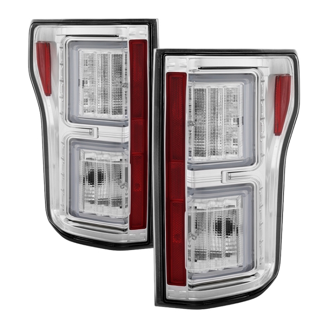 Spyder F150 2015-2017 Light Bar LED Tail Lights - Chrome (not compatible with rear blind spot sensor models)