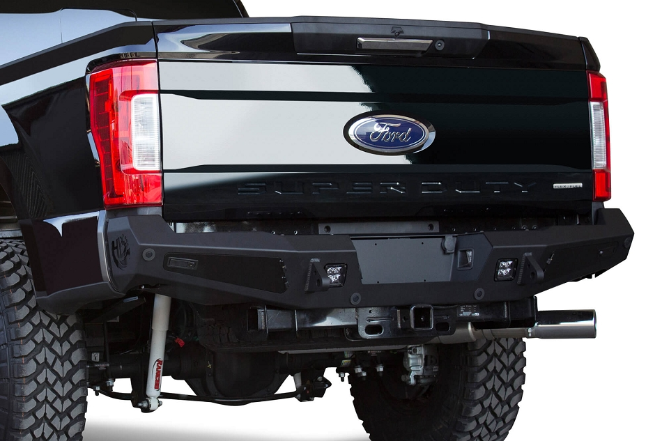 Addictive Desert Designs Super Duty Honey Badger Rear Bumper w/ Backup Sensor Cutouts (2017-2019)
