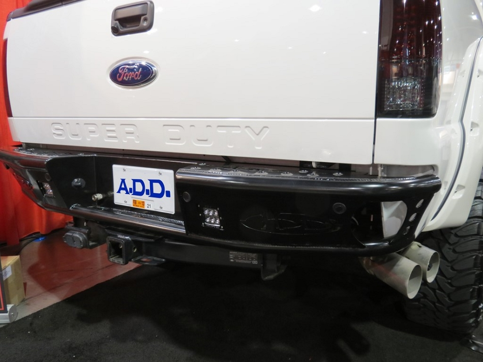Addictive Desert Designs F-250 F-350 Dimple Rear  Bumper w/ Backup Sensor Cutouts (1999-2016)