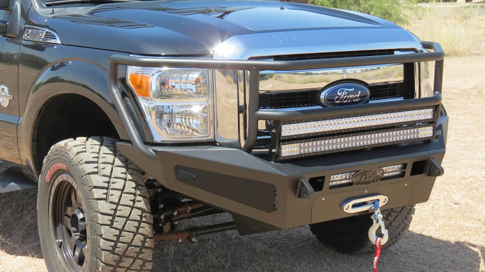 Addictive Desert Designs F-250 / F-350 HoneyBadger Rancher Winch Mount Front Bumper w/ Storage Boxes (2011-2016)