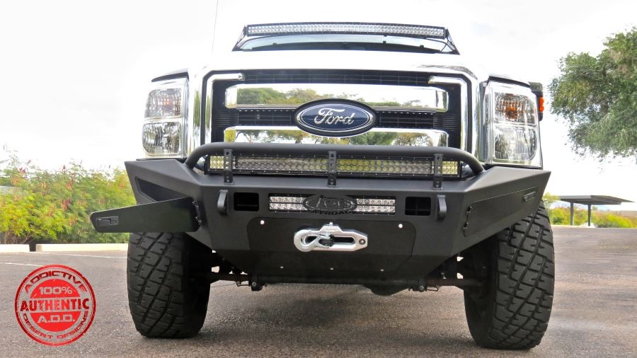 Addictive Desert Designs  F-250 / F-350 HoneyBadger Winch Mount  Front Bumper w/ Storage Boxes (2011-2016)