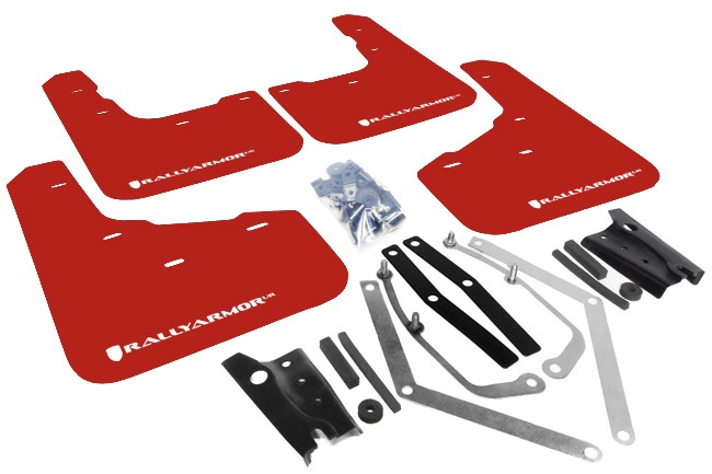 Rally Armor Mud Flap Set  Red w/ White Logo Fiesta ST 2014-2017