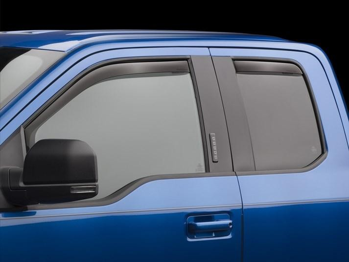WeatherTech Front & Rear Dark Smoke Side Window Deflectors SuperCab F-Series Trucks