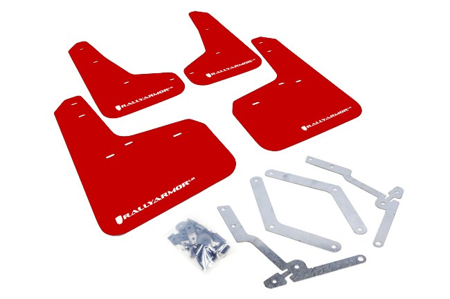 Rally Armor Mud Flap Set Red w/ White Logo Set Focus ST 2013-2018 & Focus RS 2016-2018