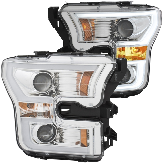 Anzo F-150 Projector Headlights w/ Plank Style Design - Chrome w/ Amber (2015-2017)
