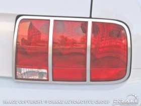 Drake Mustang Taillight Bezel Aluminum Satin Chrome Pair (2005-2009)