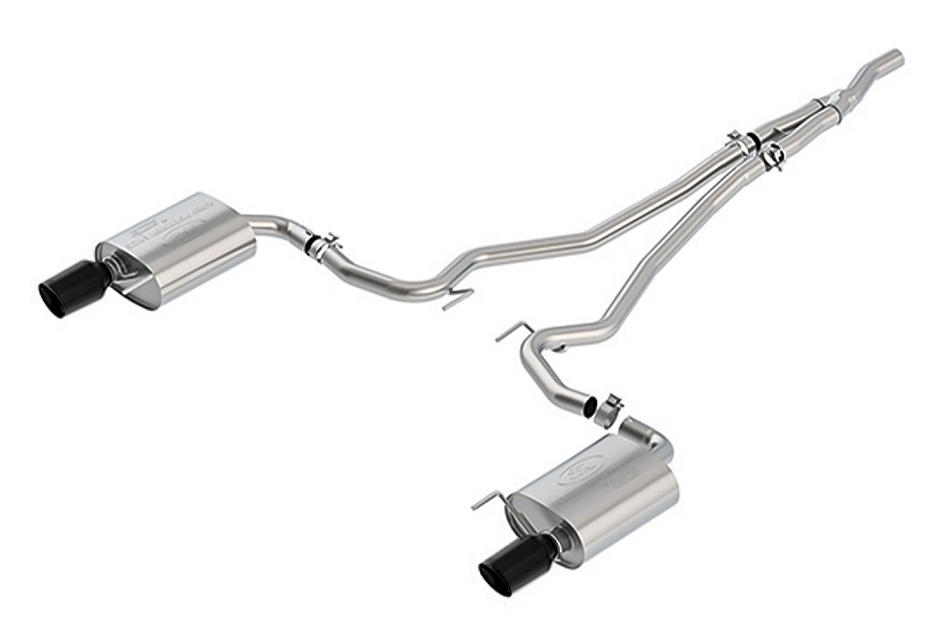 Ford Performance Mustang 2.3L Ecoboost Touring Cat-Back Exhaust System - Black Tips (2015-2021)