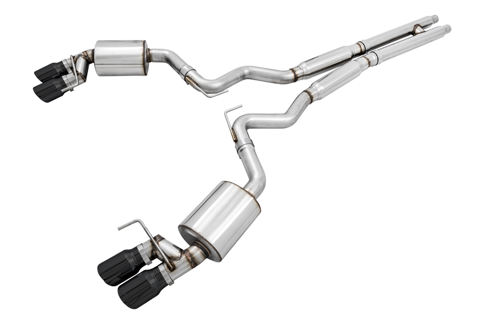 AWE Mustang GT Touring Edition Cat-back Exhaust  - Quad Diamond Black Tips (2018-2020)