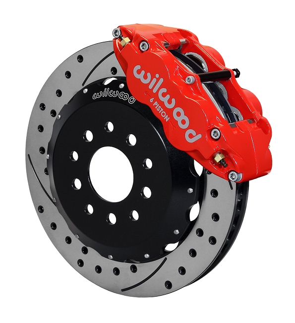 Wilwood Mustang Superlite 6R Front Brake Kit w/ 13 in. Drilled & Slotted Rotors - Red (2005-2014)