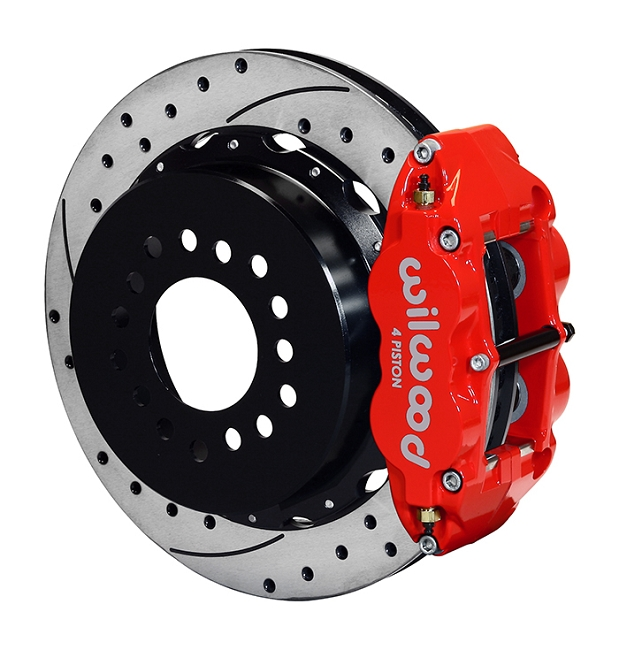 Wilwood Mustang Superlite 4R Rear Brake Kit w/ Drilled & Slotted Rotors - Red (2005-2014)